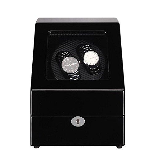 SHISHANG 2 + 3 Shaker Kohlefaser Uhrenbox Motor Elektrische Rotary Akira Holz Box Selbstaufzug Box Schmuck HD Acrylglas + Piano Paint Material , 2+3 all black