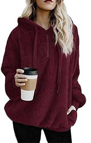 Old street Fake Nail Suéter de manga larga con capucha para mujer de color sólido cálido suéter de felpa, 1-rojo vino, S