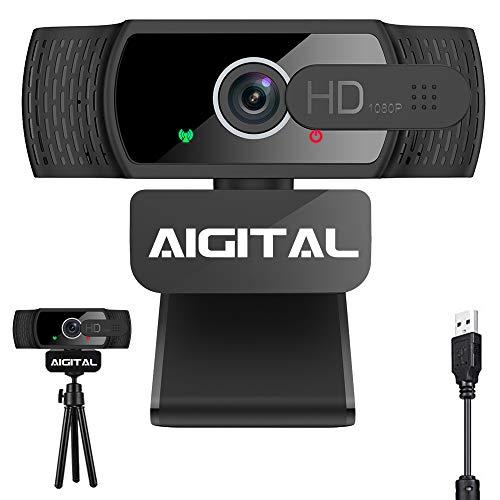 Aigital Webcam Full HD 1080P con Micrófono, Cámara Web PC Autofoco Portátil con Cubierta de Privacidad y Trípode, USB 2.0, Clip Giratorio, para Videollamadas, Conferencias, Juegos, Estudio en Línea
