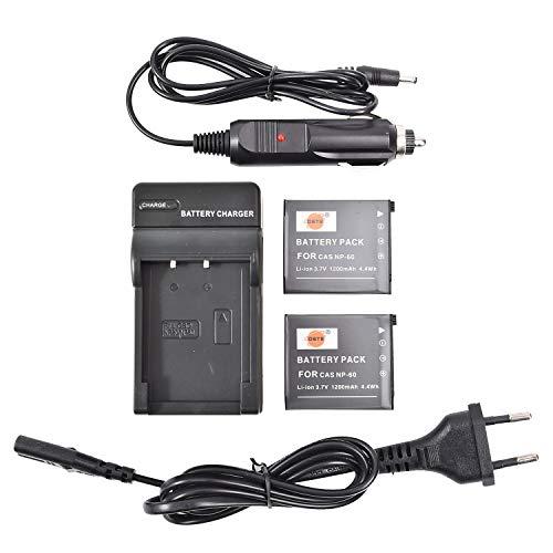 DSTE(2 Pack)Ricambio Batteria NP-60 + Caricabatterie da viaggio Compatible per Casio Exilim Zoom EX-Z19,EX-Z19GN,EX-Z19SR,EX-Z20,EX-Z85VP,EX-Z85,EX-Z85BE,EX-Z85BK,EX-Z85BN,EX-Z85EO,EX-Z85GN Fotocamera