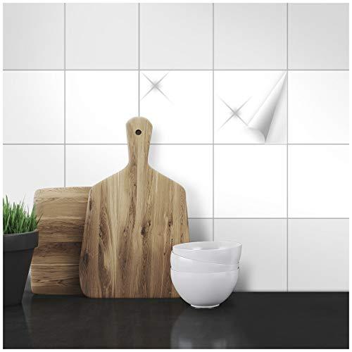 Wandkings Fliesenaufkleber - Wähle eine Farbe & Größe - Weiß Glänzend - 15 x 15 cm - 20 Stück für Fliesen in Küche, Bad & mehr