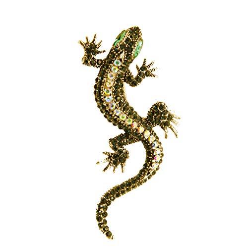 Weisin Broche vintage con diseño de lagartija Gecko con cristales para mujer, diseño de animales, color amarillo