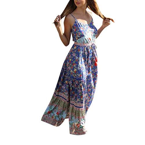 Women Boho Dress Casual Floral Tropical Maxi Dresses Vintage Loose Empire Waist Spaghetti Strap Chiffon Beach Long Dress