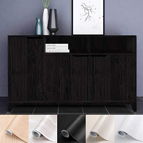 Holztapete selbstklebende Folie Wandtapete Naturholz Dekorfolie Möbelfolie 61 x 500 cm Tapeten Wandaufkleber aus hochwertigem PVC Schwarz