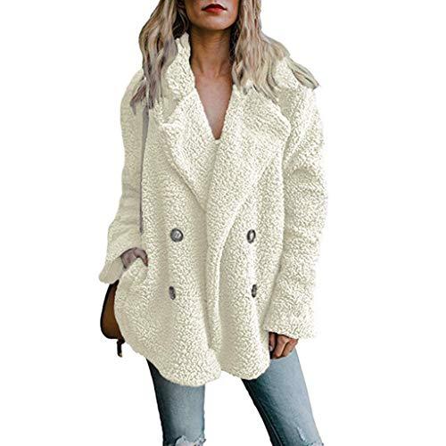 DaiWeiDress Men's Faux Fur Teddy Bear Jacket Fluffy Outwear Coat, White, XXL