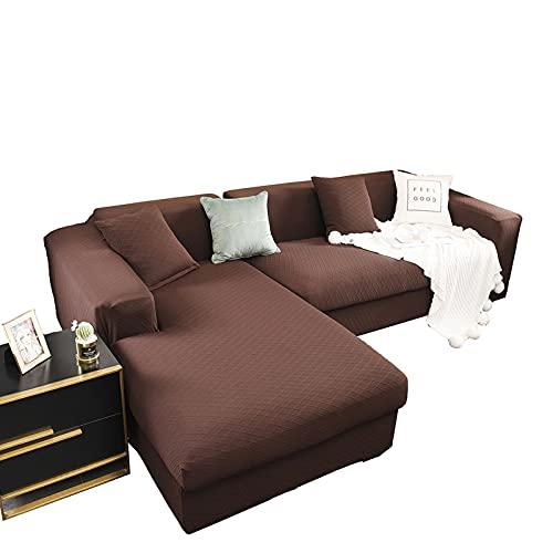 Funda para Sofà Seccional 2 Piezas, Forma de L Elástica Protector de Muebles Chaise Longues Poliéster Spandex Antideslizante Fundas de Sofá para Sala de Estar,Deep Coffee,2+3 Seater