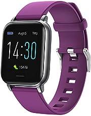 Smartklockan är kompatibel med Android iOS USB magnetisk laddning, 24-timmars pulsmätning, blodtryck och kroppstemperatur, vattentät, 16 sportlägen, IP68 GPS-delning (lila)