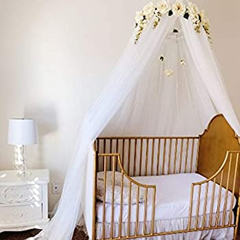Bed Canopy for Girls Princess Bed Canopy Mosquito Net with Detachable Rose Flower - Perfect for Bed Dressing Room Out Door Events,Woodland Nursery Decor