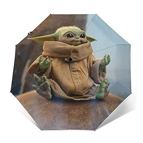 Star Yoda Wars Paraguas plegable de viaje automático abierto a prueba de viento plegable cierre triple paraguas (negro)