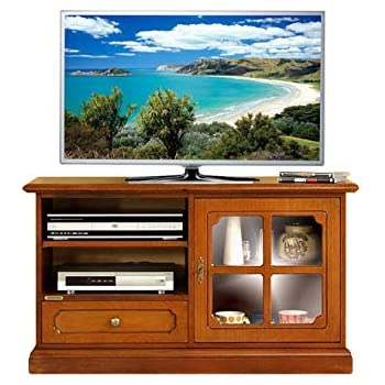Mueble de tv pequeño en madera con puerta de vidrio, mueble de salón estilo clásico, Mesa de tv con estante regulable, mueble clásico de comedor, aparador tv con vitrina, madera color cerezo: