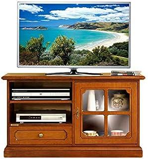 Mueble de tv pequeño en madera con puerta de vidrio mueble de salón estilo clásico Mesa de tv con estante regulable mue...