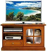 Mueble de tv pequeño en madera con puerta de vidrio, mueble de salón estilo clásico, Mesa de tv con estante regulable, mueble clásico de comedor, aparador tv con vitrina, madera color cerezo