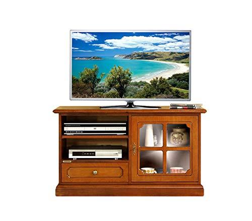 Arteferretto Möbel TV aus Massivholz, 1 Glastür/ 1 Schubfach / 1 Fach mit Einlegeboden, TV-Schrank Breite 106 cm in Kirschholz patiniert, Möbel im Stil, Wohnzimmereinrichtung, B106xT40xH60 cm