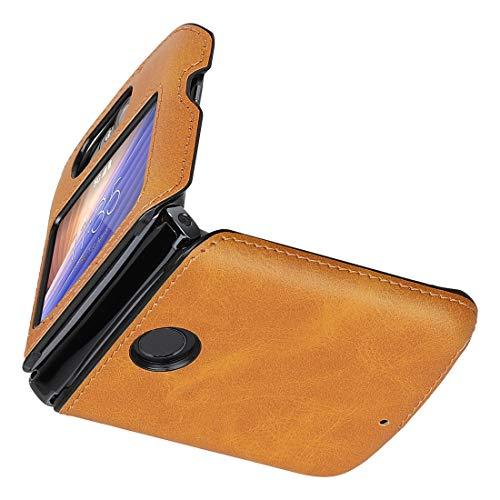 Cresee Kompatibel mit Motorola Razr 5G (2020) Hülle, PU Leder Back Cover + Hard PC Schutzhülle Thin Fit Phone Hülle für Moto Razr 5G, Tan