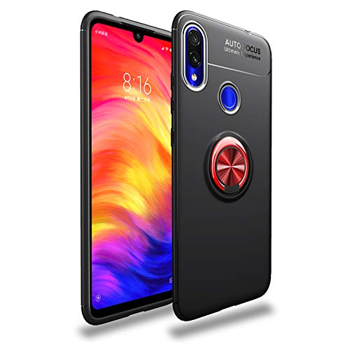 Redmi Note 7/Pro Case,360° Rotating Ring Kickstand Protective Case,Silicone Soft TPU Shockproof Protection Thin Cover Compatible with [Magnetic Car Mount] for Xiaomi Redmi Note 7/Pro (Red/Black)