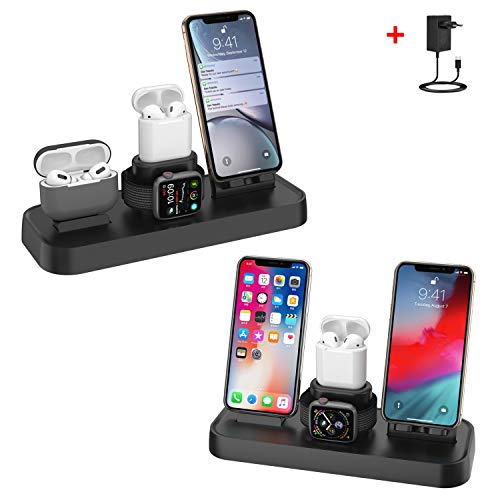 bossgo Ladestation Ständer für A pple Watch,4 in 1 Fast Qi Wireless Charge Charging Stand für i Phone AirPods i Watch Series 1/2/3/4, für Phone X, für Samsung GalaxyS8/S8 and Andere Qi-Enabled Geräte