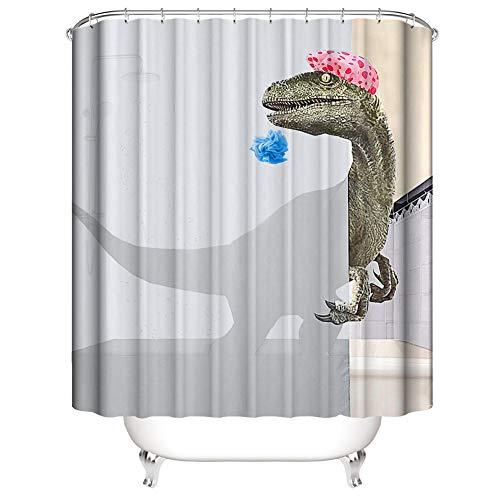 3D Digitaldruck Duschvorhang, Morbuy Top Qualität Schimmelresistenter & Wasserabweisend Shower Curtain Waschbar Mit 12 Duschvorhangringen 100prozent Polyester (Grauer Dinosaurier,180x200cm)