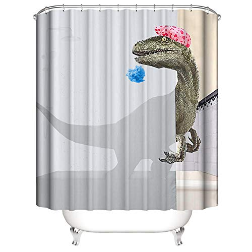 3D Digitaldruck Duschvorhang, Morbuy Top Qualität Schimmelresistenter und Wasserabweisend Shower Curtain Waschbar Mit 12 Duschvorhangringen 100% Polyester (Grauer Dinosaurier,180x200cm)