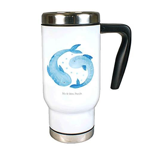 Mr. & Mrs. Panda Kaffeebecher, Isolierbecher, Edelstahl Thermobecher Sternzeichen Fische - Farbe Weiß