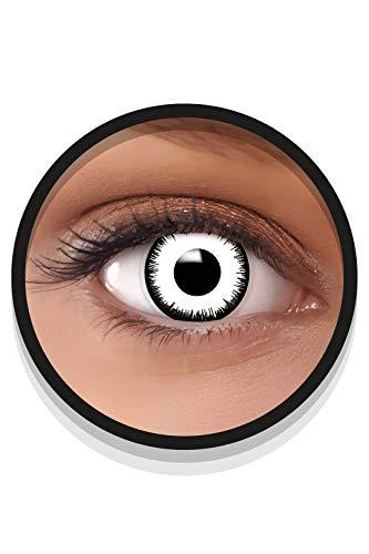 FXEYEZ Farbige Halloween Kontaktlinsen weiß VAMPIR, weich, 2 Stück (1 Paar), Ohne Sehstärke