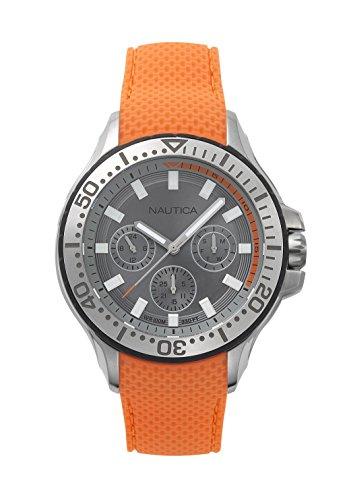 Nautica Herren Datum klassisch Quarz Uhr mit Silikon Armband NAPAUC002