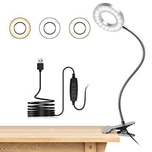 Lampara Lectura con Flexo Pinza 8W LED Luz Lectura escritorio Cuidado Ocular, 3 Modos de Luz y 10 Brillo Ajustable, 360° Flexible USB Regulable Lámpara para Libro, Tablet, Camping (Plata)