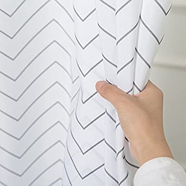 White Striped Washable Fabric Shower Curtain Mildew Resistant for Bathroom ,Waterproof 71-inch x 72-inch