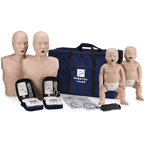 small Prestan Take2 CPR Mannequin and AED Feedback Trainers (Ultra Trainers for 2 Adults, 2 Children, 2 AEDs)
