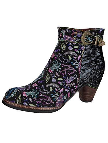 LAURA VITA, ALCIZEEO 17, Bottines Cuir Femmes, Chaussures de Ville Hiver, Semelle Confortable - Style Original Fleurs, Acier (Numeric_39)