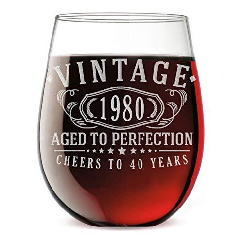 Verre à vin sans pied vintage gravé 1980 481,9 g – 40e anniversaire Aged to Perfection – Cadeaux pour 40 ans