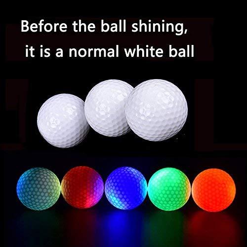 Kofull Hi-Q USGA LED-Golfbälle für Nachttraining, luxuriöse leuchtende Golfbälle für Distanztraining, 6 Stück, verschiedene Farben (pink/blau/rot/grün/weiß/orange)