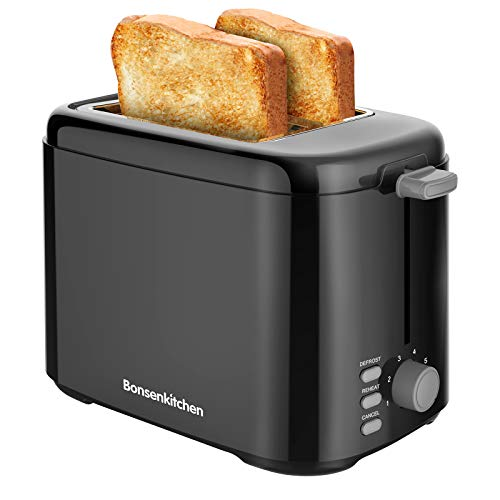 2-Slice Retro Toaster with 7 Shade Settings, Compact Toaster with Cancel, Defrost and Reheat Functions, Slide-Out Crumb Tray, 800W, Black
