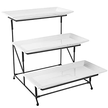 3 Tier Rectangular White Ceramic Serving Platters and Black Metal Display Rack Stand