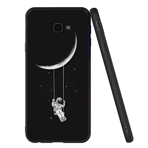 Yoedge Cover Samsung Galaxy J4 Plus, Sottile Antiurto Custodia Nero Silicone TPU con Disegni Pattern Ultra Slim 360 Protective Bumper Case per Apple Samsung Galaxy J4 Plus, Astronauta