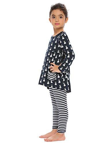 Chigant Baby-Mädchen Nachthemd Rundhalsausschnitt Langarmshirt und Leggings Set Zweiteiliger Schlafanzug Nitnightset Mit Kaninchen-Streifen Drucken Größe 90-160