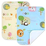PEKITAS 2 Pack Baby Waterproof Diaper Changing Pads Travel Friendly Super Soft Fabric Size 19.5 X 27.5 inches (Medium,0-1 Year) Cartoon Series
