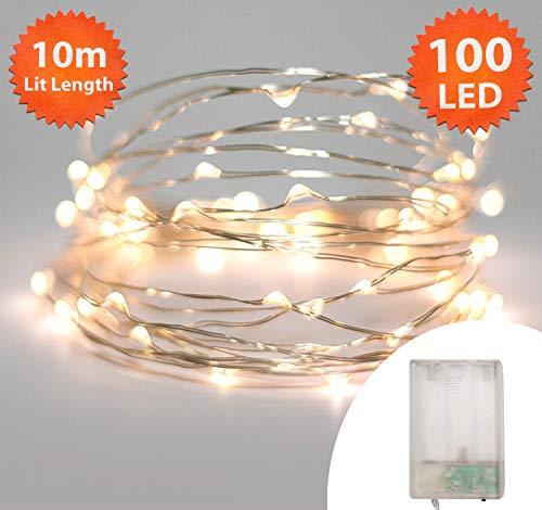 Lichtketting kerstverlichting, 100 LED warmwitte binnen- en buitenverlichting, warmwit Micro String Lights - batterij - 10 m / 33 ft Lit lengte met 1 m / 3,3 ft looddraad zilveren kabel
