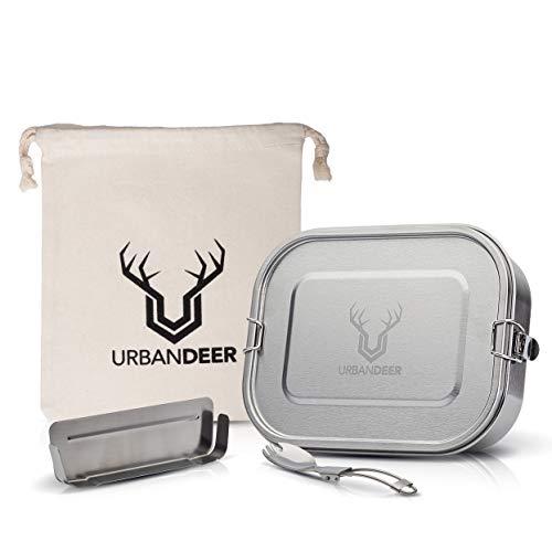 URBANdeer® Lunchbox Set XL | 1400ml | NEU | Premium Edelstahl Brotdose. Auslaufsicher mit Flexibler Trennwand, Besteck & Beutel. Ohne BPA & Plastik. Brotbox für Reisen, Büro, Schule, Meal Prep