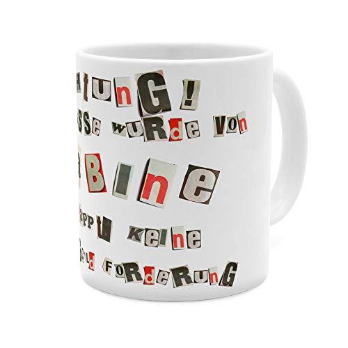 printplanet Tasse mit Namen Sabine - Motiv Ausgeschnittene Buchstaben - Namenstasse, Kaffeebecher, Mug, Becher, Kaffeetasse - Farbe Weiß