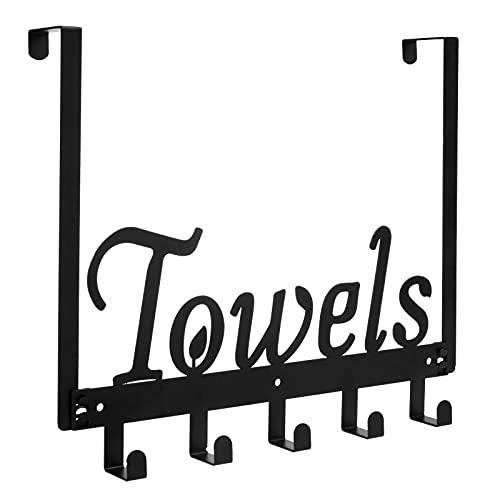 DAKWAK Over The Door Hooks, Door Mount Towel Rack Towel Holder, Decorative Overdoor Organizers, Hanging Storage Rack for Kitchen Pool Beach Bathrobe 5 Hooks Rustproof and Waterproof