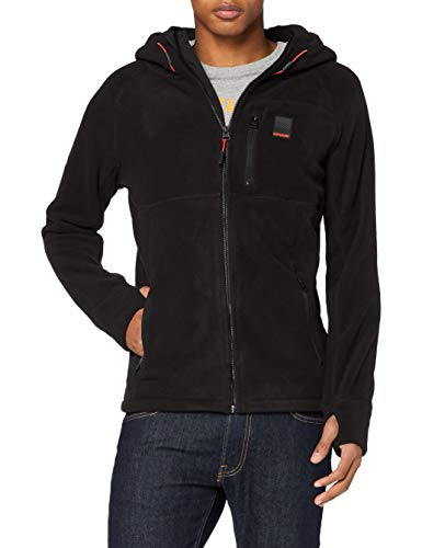 Superdry Mens Polar Zip Thru Fleece Jacket, Black, Large