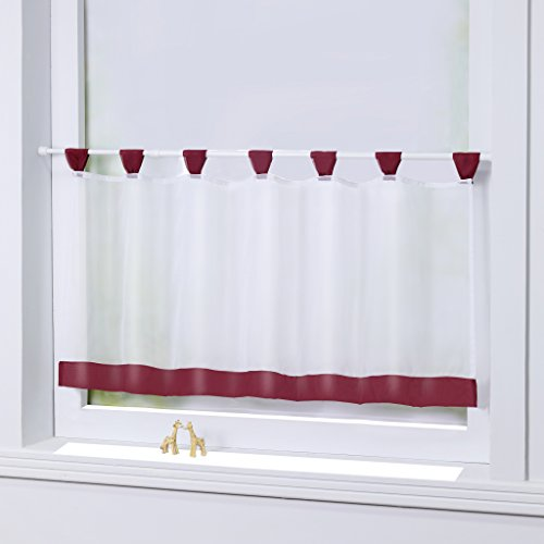 Joyswahl Bistrogardine Voile Schlaufen Scheibengardine Mia Küchen Transparenter Vorhang HxB 60x120cm Winerot 1er Pack