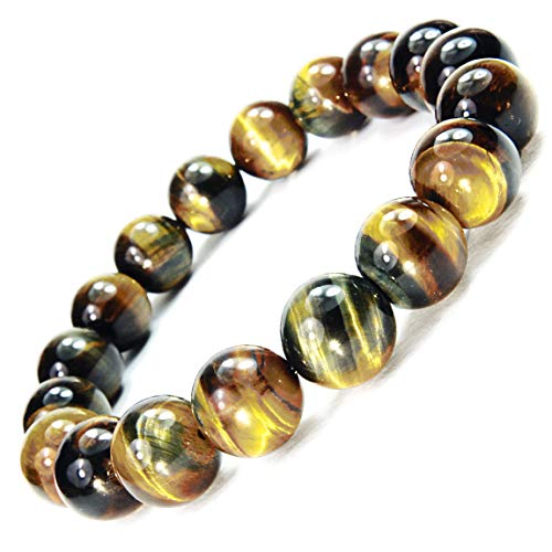 ONE ION 12mm Golden Blue Tiger Eye Bracelet (7 Inches)