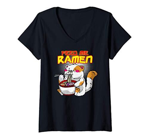 Mujer Feed Me Ramen. Divertido Gatito Kawaii Comiendo Ramen
