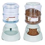 xihan123 Fuente Agua Perro Actualizar Plástico Bebedero Perro Automatico Fuerte Y Robusto Bebedero Perros para No Se Desperdicia Agua En Viajes Al Aire Libre Green,Feeder Set