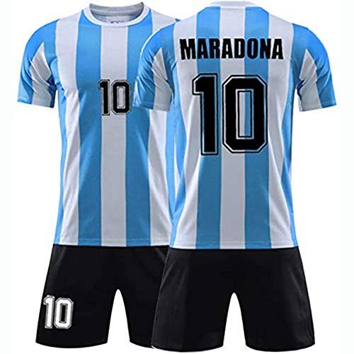 Camiseta De Argentina 1986, Diego Maradona # 10 Camiseta De Leyenda del Fútbol Local De Argentina, Traje De Entrenamiento Retro Conmemorativo De La Copa Mundial De México 1968 (28,Without Socks)