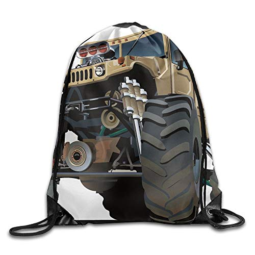 FULIYA Cars Extremely Large Giant Monster Pickup Truck With Huge With Oversized Tires Racing Drawstring Bags Camping Gym Backpack Drawstring Shoulder Bag Backpack String Bags