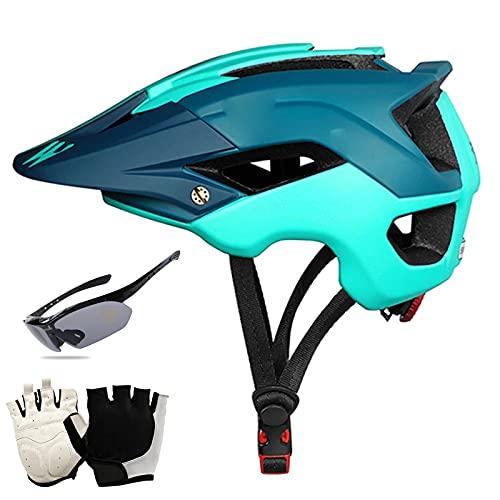 QZH Casco de Bicicletas para Adultos para, Cascos de Ciclo de Bicicleta MTB con Vista al Sol Goggle Glove Lightweight Road Casco de Ciclismo para Mujeres y Hombres 22-24 Pulgadas,Azul