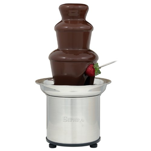 Sephra Select 16' 3 Tier Professional Home Chocolate Fondue Fountain with Heated Stainless Steel Basin, WhisperQuiet™ Motor and Quickset™ Tier Assembly
