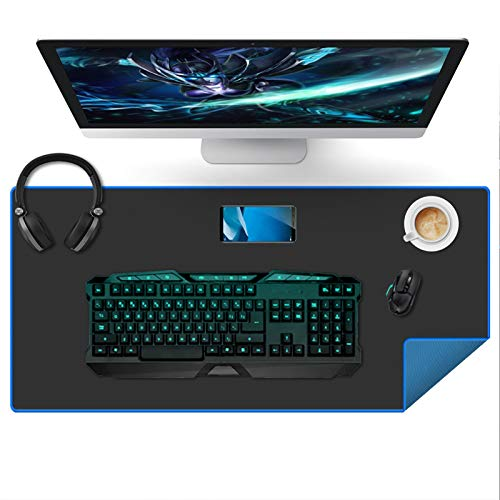 Large Gaming Mouse Pad(35.4x15.7x0.16in), Black Thick Computer Extended Mousepad for Laptop, 35% Larger Smooth Keyboard Mat with Non Slip Blue Rubber Base, Desk Pad with Durable Stitched Edges